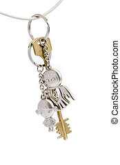 Golden key on white background