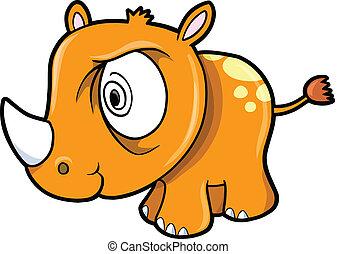 Crazy Rhino Safari Animal Vector
