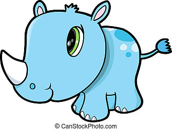 Cute Rhino Safari Animal Vector