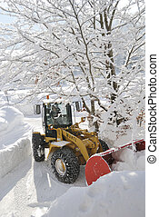 Snow removal vehicle - INNSBRUCK; AUSTRIA - JAN 8: Snow...