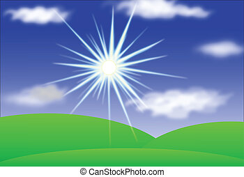 Landscape with Sun, Hills, Blue Sky And Clouds, Vector Ieps10