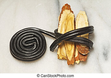 licorice raw and candy - licorice raw and processed