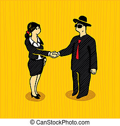 The bargain. Illustration with a businessmen shaking hands