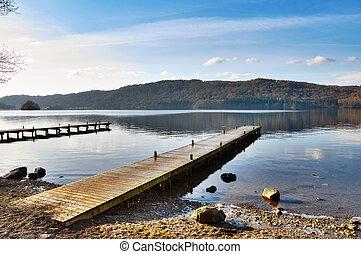 Jetty Over Misty Lake, Windermere - Empty wooden planked...