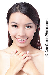 Portrait of beautiful girl  smile face