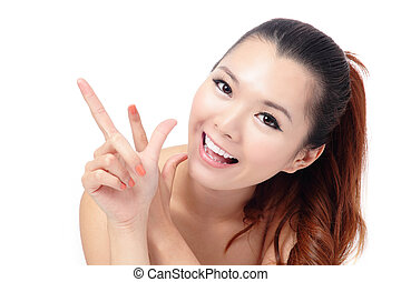 Fresh smiling woman face close up with hand