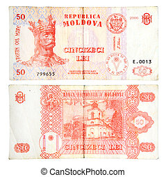 Money Moldova 50 Lei on the white background (2006 year)