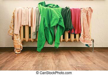 wear - many colored wear on a steel radiator.