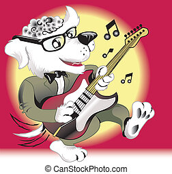 Rock n Roll Dog - 50s era rock n roll dog playing guitar