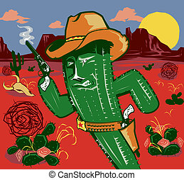 Cactus Gunslinger - A rough and tumble cowboy cactus...
