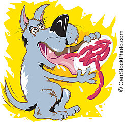 Gluttonous Mutt - A mutt ravenously devouring a plate of...
