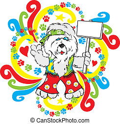 Hippie Sheepdog - Colorful hippie dog with sign for message