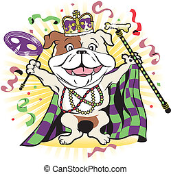 Mardi Gras Mutt - Happy bulldog celebrating at a colorful...