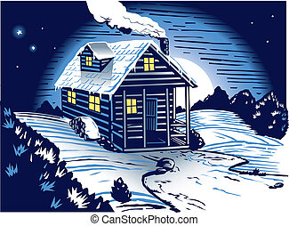 Snowy Cabin - A small, occupied cabin in the snowy, dark...