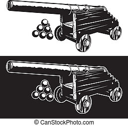 Rustic Cannon - An ancient cannon with cannon balls