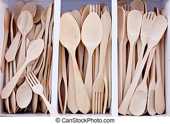 box with wooden cutlery in beech wood in mediterranean...