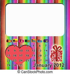 Calendar 2012 with valentine's day - Desktop calendar for...