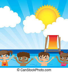 CHildren ilustration - Boys and girls on summer, Vector...