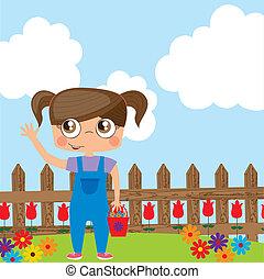 Girl  - Illustration of girl on garden, vector image