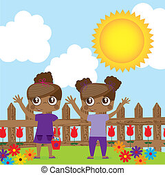 twings - girl children twins over garden vector illustration...
