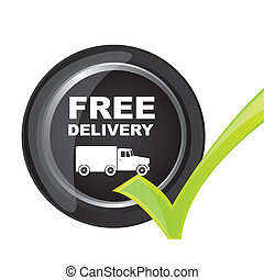free delivery button with check mark vector illustration
