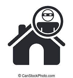 Vector illustration of single isolated home thief icon