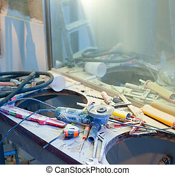 home improvement messy clutter with dusted tools - home...