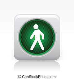 Vector illustration of single isolated green traffic light...