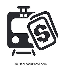 Vector illustration of single isolated train ticket icon