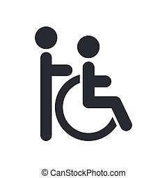Vector illustration of single isolated handicap assistant...