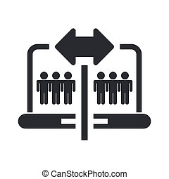 Vector illustration of single isolated pc sharing icon