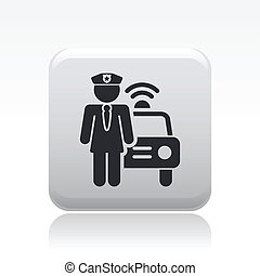 Vector illustration of single isolated police girl icon