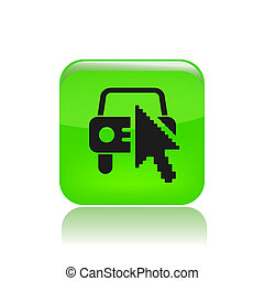 Vector illustration of single isolated website car icon