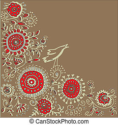 floral background - vector floral background with birds...