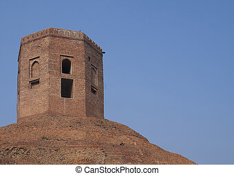 India Sarnath: upper Muslim structure - Victors must stamp...