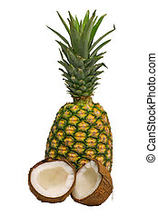 Pineapple and coconut isolated
