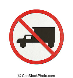 Traffic sign recycled paper - Trucks Prohibited traffic sign...