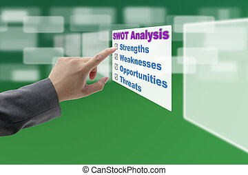 SWOT Analysis - Businessman hand touch Business SWOT...
