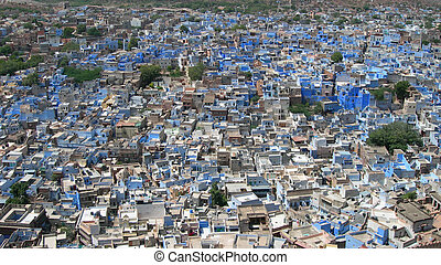 Aerial of city in India