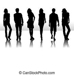 vettore, moda,  silhouette, illustrazione, Persone