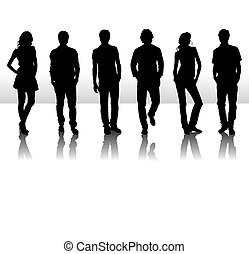 Vector illustration of fashion people silhouette