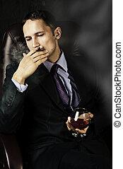 hombre, viejo, aguardiente, vidrio, Fumar, cigarro