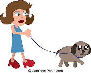 Woman Walking Dog - Cartoon woman walking dog with a leash...