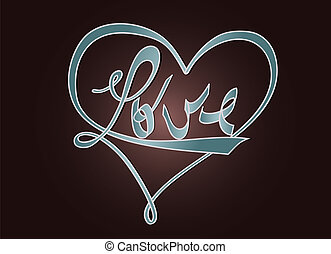 Love and heart - typography design - Typographic design with...