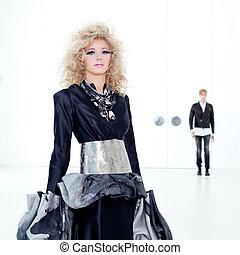 negro, Haute, Alta costura, Retro, futurista, pareja