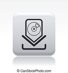Vector illustration of single isolated cd download icon