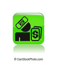 Vector illustration of single isolated accident money icon