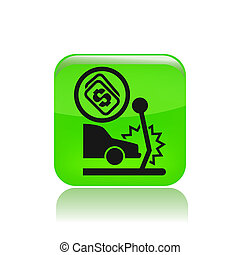 Vector illustration of single isolated insurance car icon