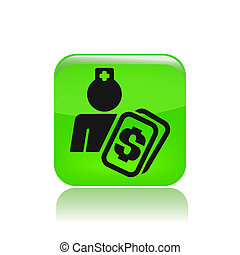 Vector illustration of single isolated nurse cost icon