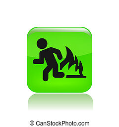 Vector illustration of single isolated fire exit icon